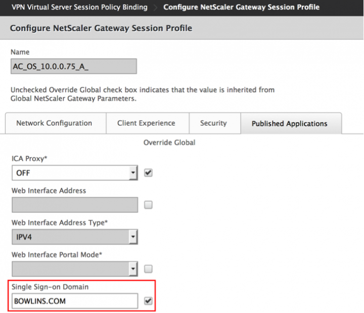 Session Policy SSO Domain