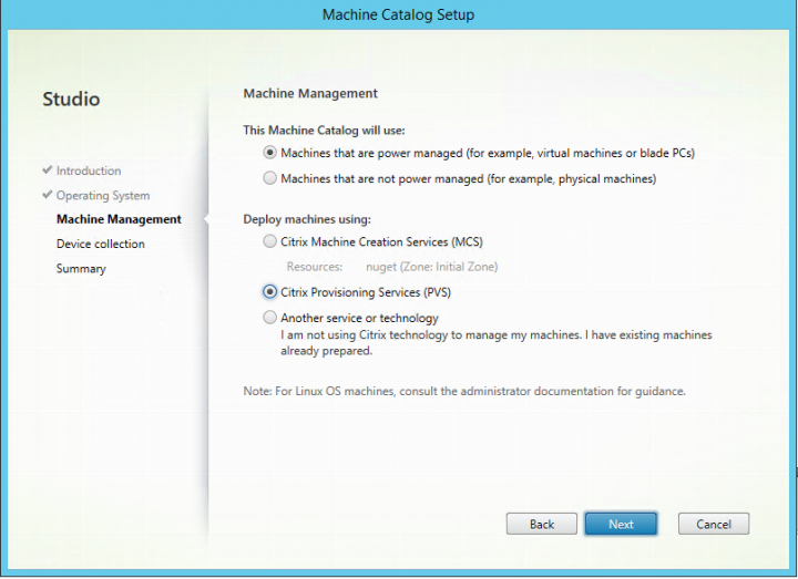 Figure 6 Select Provisioning Services for deployment