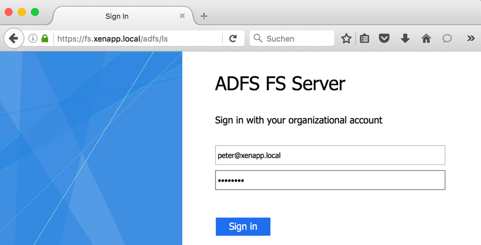 ADFS Login Page Example