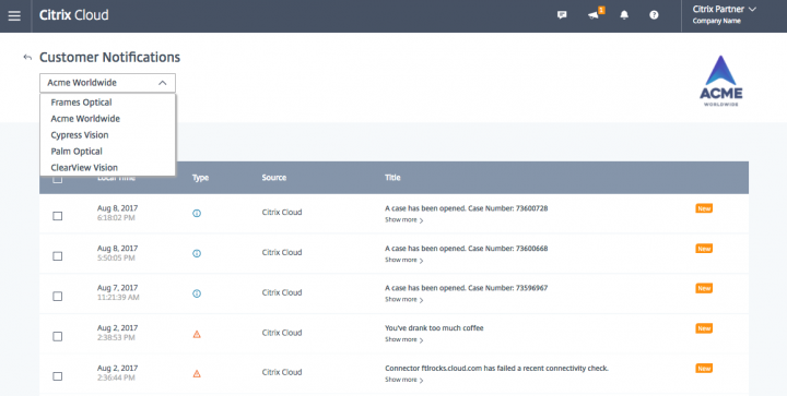 Monitor and address service alerts across multiple customers in Citrix Cloud