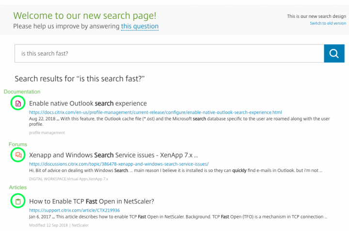 Finding help is easier with Citrix Support's new search page
